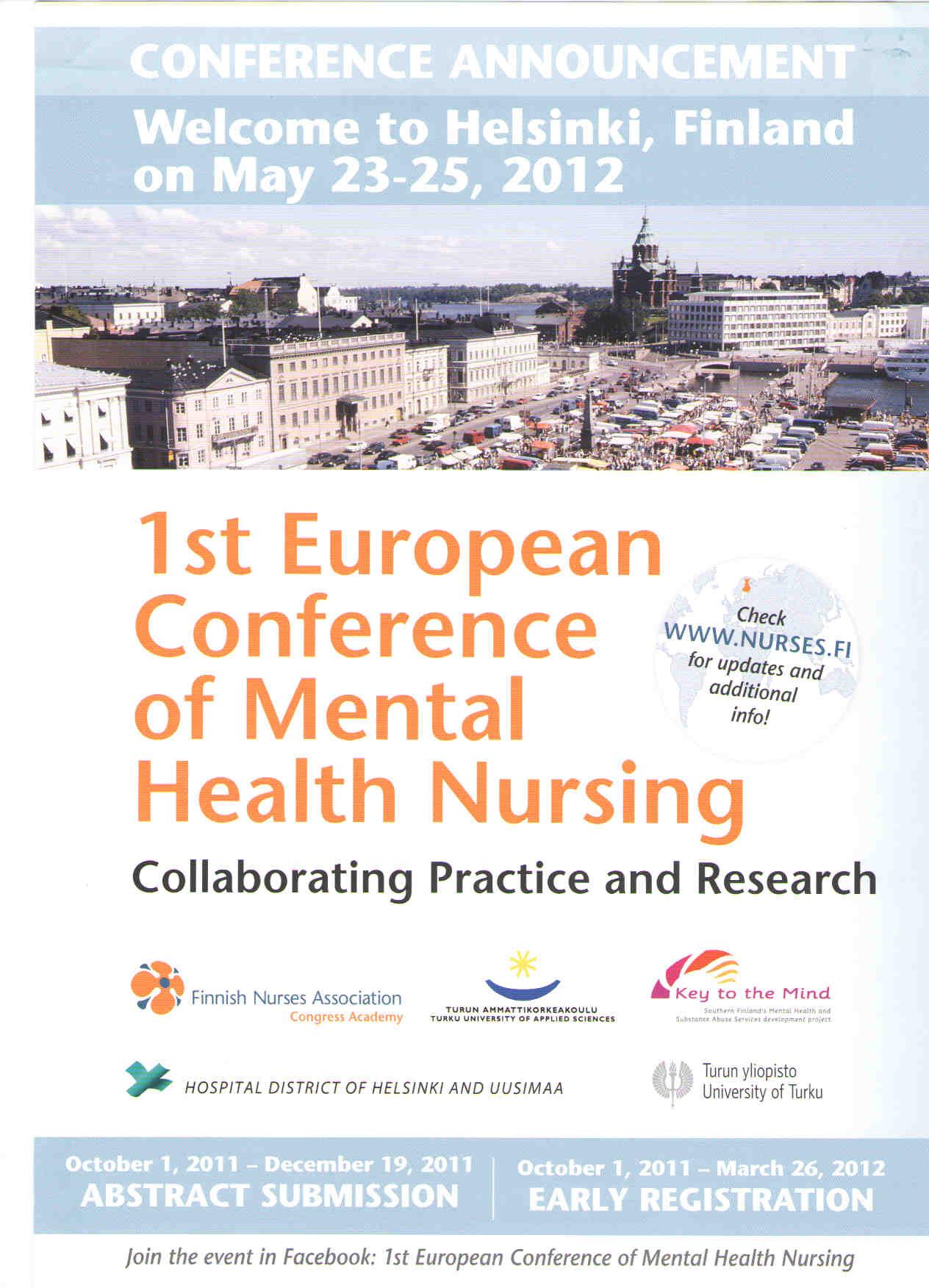1st European Conference Of Mental Health Nursing Enmhp Handbook